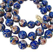 Cobalt Cloisonné Beads Necklace 14K Clasp Hand Knotted