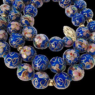 Cobalt Cloisonné Beads Necklace 14K Clasp Hand Knotted
