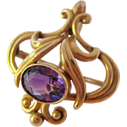 Exquisite 14K Gold Amethyst Watch Pin Pendant