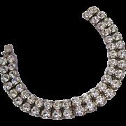 Silver Tone Double Row Clear Rhinestone Bracelet