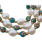 14K Gold Baroque Cultured Pearl and Cloisonné Bead Necklace