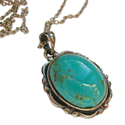 Sterling Silver 925 Pendant Necklace Turquoise Colored Stone