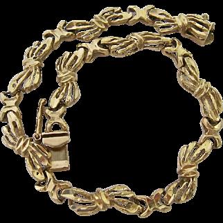 14K Gold Open Bow Link Bracelet 10.2 Grams