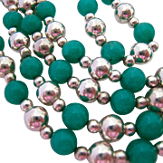 Sterling Silver 925 and Green Gemstone Bead Necklace Endless