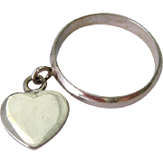 Sterling Silver 925 Band Ring with Heart Charm