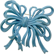 Huge Blue Celluloid or Early Plastic Bow Pin Brooch