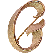 Crown Trifari Gold Tone Initial G Pin