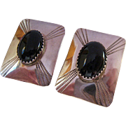 Sterling Silver 925 Rectangular Earrings with Saw Tooth Bezel Set Black Onyx Stones Signed