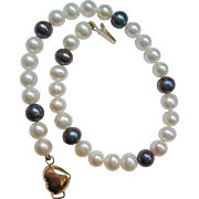 White and Black Cultured Pearl Bracelet 14K Gold Clasp
