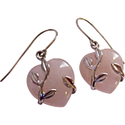 Sterling Silver 925 Wrapped Rose Quartz Heart Dangle Earrings Signed