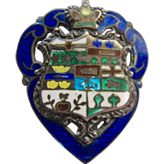 Sterling Enamel Pin Heart Crest and Crown Canada Circa 1901-1910