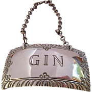 Stieff Sterling Gin Liquor Bottle Tag Label Williamsburg Restoration - Red Tag Sale Item