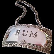 Stieff Sterling Rum Liquor Bottle Tag Label Williamsburg Restoration
