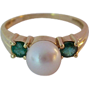 14K Gold Cultured Pearl & Emerald or Tourmaline  Ring
