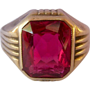 Art Deco Ostby Barton OB 10K Gold Ruby Ring Lab Created