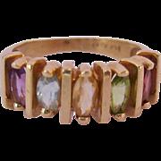 14K Gold Rainbow Gem Band Ring