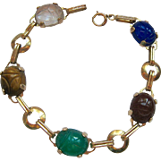 14K Gold Scarab Carved Gemstone Bracelet