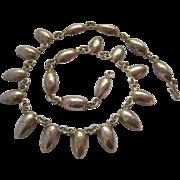 Older Silver Colored Teardrop Fringe Necklace Hook Closure
