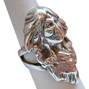Huge Sterling Silver 925 Indian Head Man's Ring Native American