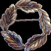 Beau Sterling Foliate Leaves Wreath Circle Pin Brooch
