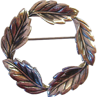 Beau Sterling Foliate Leaves Wreath Circle Pin Brooch