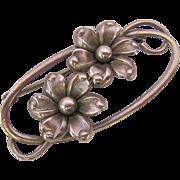 Sterling Silver 925 Floral Brooch Pin Signed Forstner