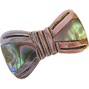 Sweet Sterling Silver 925 Abalone Shell Bow Pin