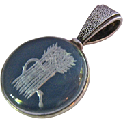 Sterling Reverse Carved Rock Crystal Pendant Wheat Sheaf and Scythe