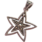 Sterling Silver 925 & Marcasite Pendant Star within Star