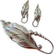 Sterling Silver 925 Leaf and Berry Brooch and Earrings Set Signed