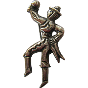 Old Mexican Silver Pre-Eagle Mariachi Man Pin Brooch