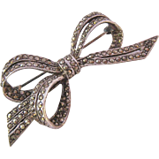 Sterling Silver 925 Marcasite Bow Pin Brooch