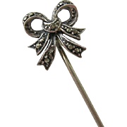 Sterling Silver 925 Marcasite 3-D Bow Stick Pin