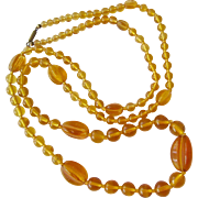 Amber Yellow Glass Bead Necklace Old Plunger Clasp