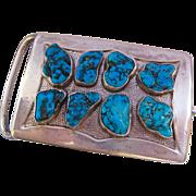 Substantial Impressive Sterling Silver 925 Turquoise Belt Buckle Signed Dated 73.6 grams