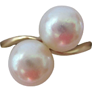 Mikimoto 14K Gold Double Pearl Ring