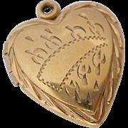 12K Gold Filled Heart Locket Pendant Signed Carl Art