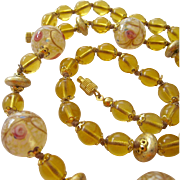 Golden Yellow Amber Art Glass Bead Necklace Hand Knotted