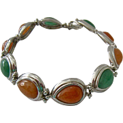 Sterling Silver 925 Pumpkin Color and Green Gemstone Cabochon Bracelet