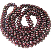Woven Garnet Bead Necklace Endless 28 Inches