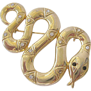 Gold Tone and Rhinestone Snake Brooch
