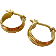 Tiny 18K Gold Hoop Earrings with Snap Bar Closure