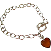 Sterling Silver 925 Bracelet Toggle Clasp Amber Heart Dangle