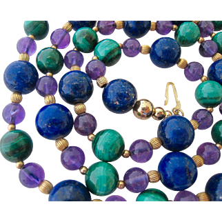 50% SALE Lapis Malachite Amethyst Necklace Earring Set 14K Gold Filled Spacers Findings