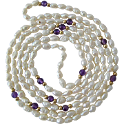 White FW Pearl Necklace with Amethyst and 14K Gold Stations