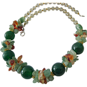 Green Garland Gemstone Necklace Silver Tone Clasp Chrysoprase Orbs