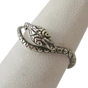 Sterling Silver 925 Snake Wrap Ring Adjustable