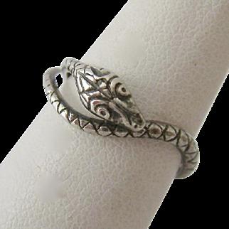 Sterling Silver 925 Snake Wrap Ring Adjustable