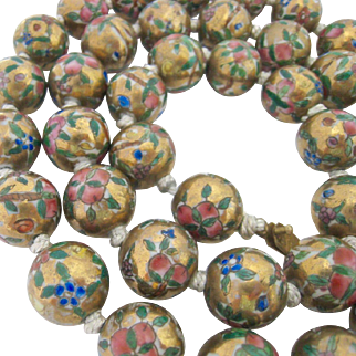 50% SALE Chinese Painted Porcelain Large Bead Necklace Hand Knotted Filigree Clasp