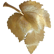 Retro Krementz Gold Plated Leaf Pin Brooch